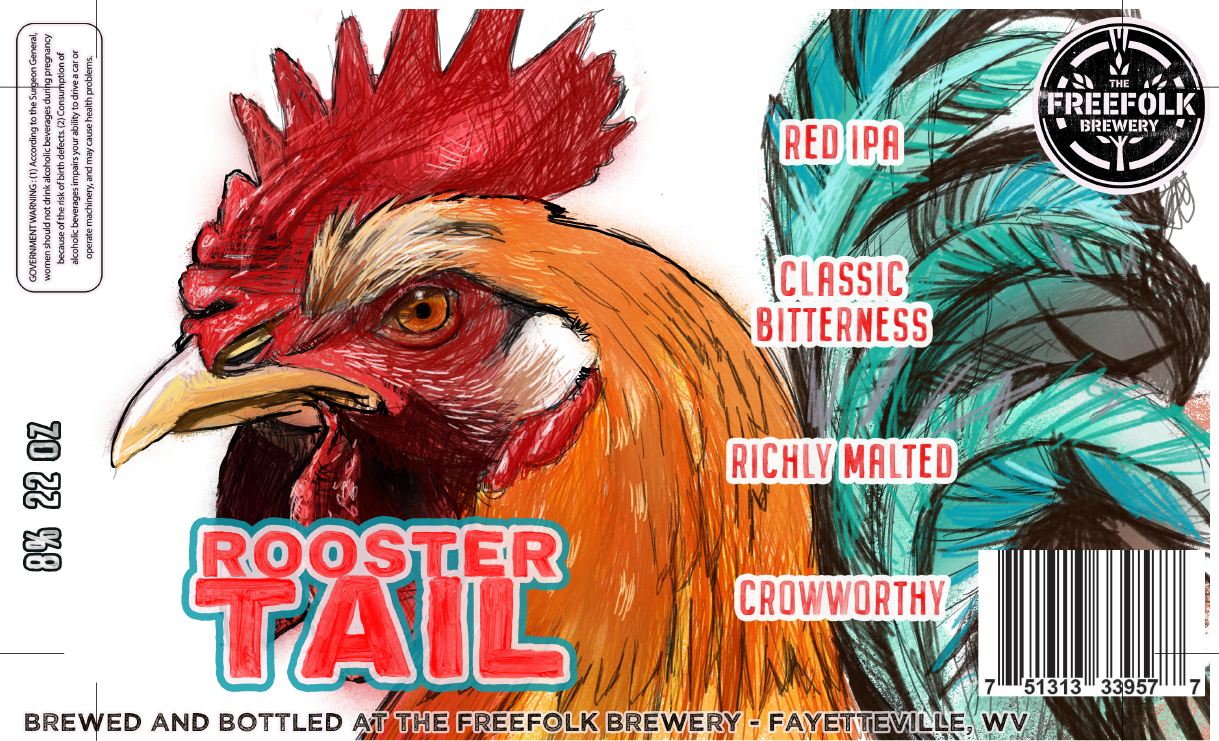 ROOSTER TAIL RED IPA LABEL
